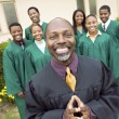 Minister in church garden gospel choir — Stock Photo