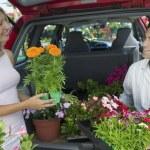 Couple Loading Plants Into Minivan — Stock Photo #33806433