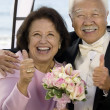 Parents at Wedding Thumbs-Up — Stock Photo