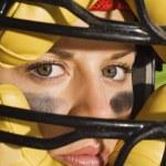 Female catcher wearing mask — Stock Photo #33807049