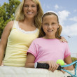 Mother and Daughter at Tennis Net — Stok fotoğraf
