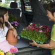Grandmother and granddaughter loading flowers — Stock Photo