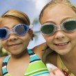 Stock Photo: Girls wearing swim goggles