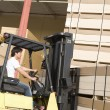 Male laborer with forklift stacking wood — Stock Photo #33808431