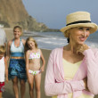 Grandmother at Beach with Family — Stock Photo