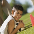 Teen Boy Guarding Soccer Ball — Stock Photo #33808485