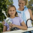 Mother and Daughter at Tennis Net — Stock Photo