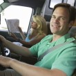 Stock Photo: Couple in camper van