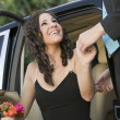 Girl Being Helped From Limo — Stock Photo