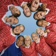 Smiling Girls Soccer Team in Huddle — Stock Photo