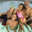 Grandfather with Grandchildren in Pool — Stock Photo