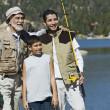 Grandfather Fishing with Grandsons — Stock Photo