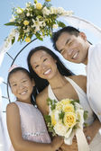 Bride and Groom With Sister — Stock Photo