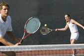Partners in Tennis Match — Stock Photo