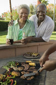 Senior Couple at Outdoor Barbecue — Stock Photo
