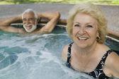 Senior Couple in Hot Tub — Stock Photo