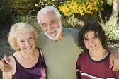 Teenage boy with grandparents — Stock Photo