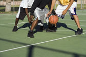 Player being tackled in basketball — Stock Photo