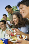 Family and Friends at Picnic Table — Stock Photo