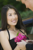 Teenage Girl Receiving Corsage — Stock Photo