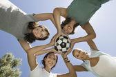 Women holding soccer ball — Stock Photo