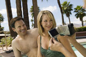 Woman Video Taping Couple — Stock Photo