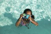 Girl Using Camera in Swimming Pool — Stock Photo
