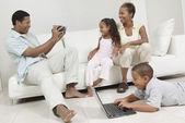 Man Videotaping Family — Stock Photo
