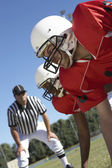 Referee Watching Football Players — Stock Photo