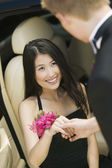 Teenage Girl Helped From Limo — Stock Photo