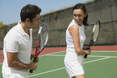 Tennis Player Getting Instruction — Stockfoto