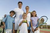 Family on Tennis Court — Stock Photo