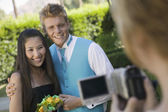 Couple Being Videotaped — Stock Photo