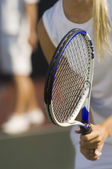 Tennis Player Waiting For Serve — Stock Photo