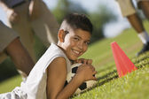 Teen Boy Guarding Soccer Ball — Stockfoto