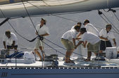 Crew working on yacht — Stok fotoğraf