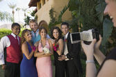 Friends Being Videotaped at Prom — Stock Photo