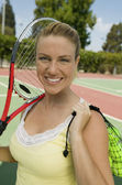 Woman with Tennis Racket — Stock Photo