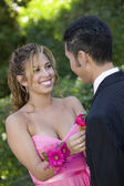 Girl Pinning Boutonniere on Date — Stock Photo
