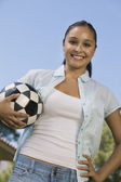 Woman Holding Soccer Ball — Stock Photo
