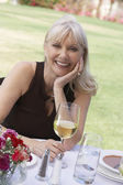 Woman Enjoying Glass of Wine — Stock Photo