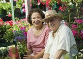 Senior Couple Shopping for Plants — Stock Photo