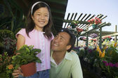 Father and Daughter Shopping for Plants — Stock Photo