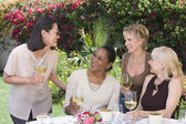 Women chatting with wine glasses — Stock Photo