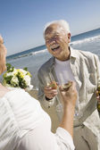 Senior Newlyweds Sharing a Toast — Stock Photo