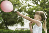Girl with Party Balloon — Stock Photo