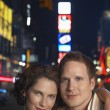 Young Couple out in city at Night — Stock Photo