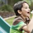 Stock Photo: Little boy using inhaler
