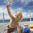 Baby Boy Playing on Porch — Stock Photo
