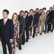 Stock Photo: Line of Businesspeople leaning over